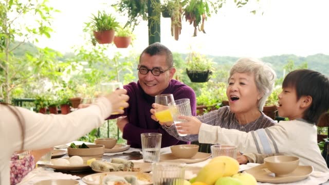 chinese family eating lunch outdoors and toasting with orange juice - chinese ethnicity stock videos & royalty-free footage