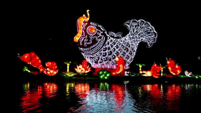 stockvideo's en b-roll-footage met chinese festive lantern decorated on river at night - chinees nieuwjaar