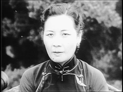 chinese first lady madame chiang kai-shek posed with franklin and eleanor roosevelt at mount vernon / close up of franklin delano roosevelt with... - first lady stock videos & royalty-free footage