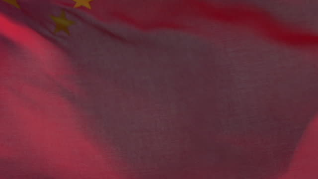 ecu, zo, chinese flag flapping against sky - 旗点の映像素材/bロール