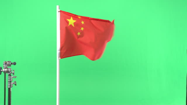 Chinese flag on green screen