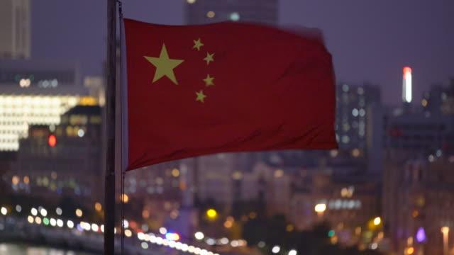 CU Chinese flag waving in the wind, Shanghai