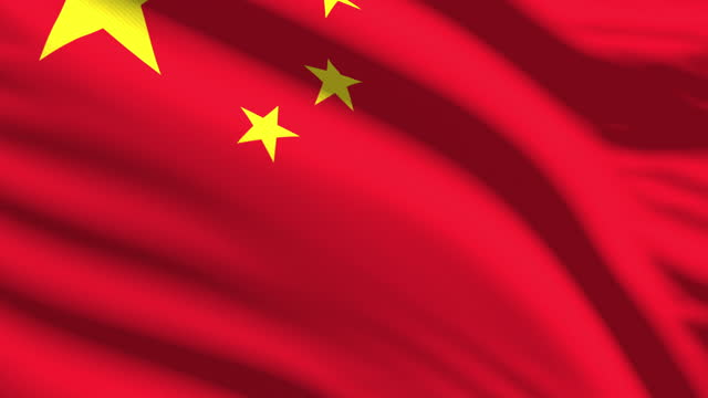 chinese flag waving in the wind with highly detailed fabric texture. seamless loop - flag stock videos & royalty-free footage