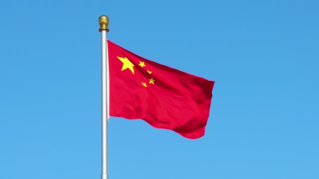 chinese flag waving - chinese flag stock videos & royalty-free footage