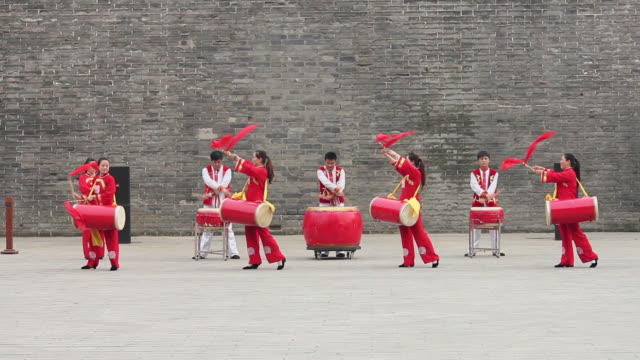 ms chinese folk music-using gongs and drums/xian,shaanxi,china - folk music stock videos and b-roll footage