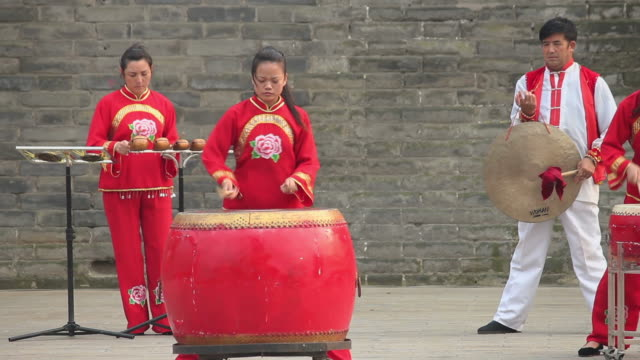 ls chinese folk music-using various percussion instruments/xian,shaanxi,china - folk music stock videos and b-roll footage