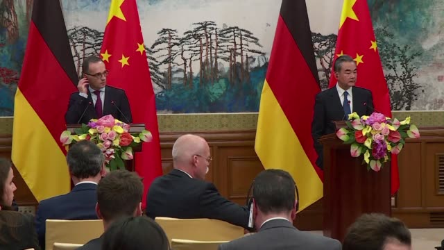 chinese foreign minister wang yi receives his german counterpart heiko maas in beijing and urges the international community to pay attention to the... - human joint stock videos & royalty-free footage