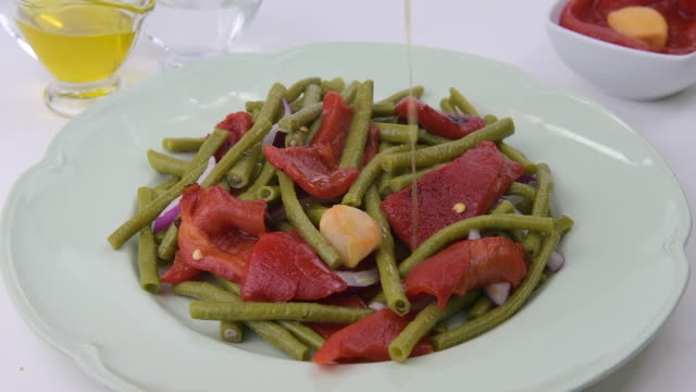 chinese green beans salad, part 1 - salad dressing stock videos & royalty-free footage