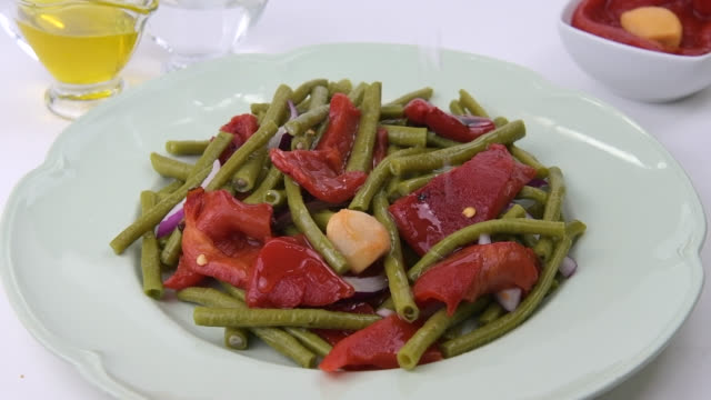 chinese green beans salad, part 2 - salad dressing stock videos & royalty-free footage