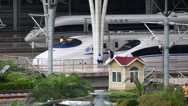 Chinese High-speed bullet trains at Hongqiao Train station