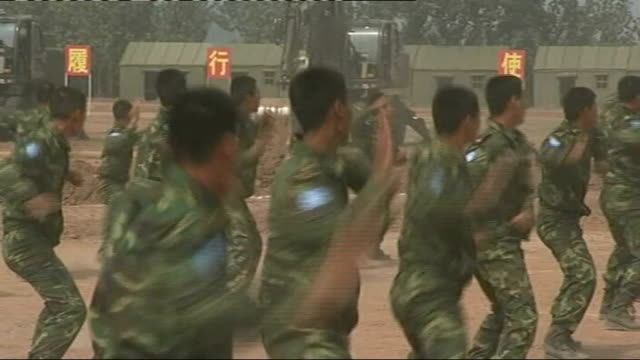 EXT People's Liberation Army Soldiers and officers training prior to deploying as peacekeepers in Sudan's Darfur region