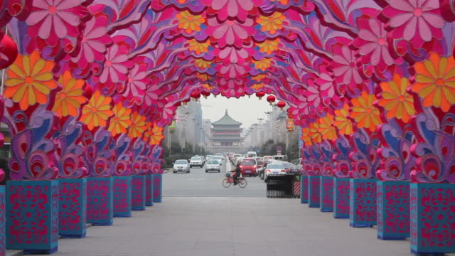 ls chinese lantern festival celebrations and street/xian,shaanxi,china - chinese lantern festival stock videos and b-roll footage
