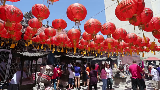 chinese lantern hang outside temple for decorate on new year - temple body part stock videos and b-roll footage