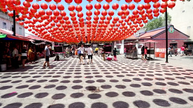 chinese lantern hang outside temple for decorate - chinese lantern festival stock videos and b-roll footage