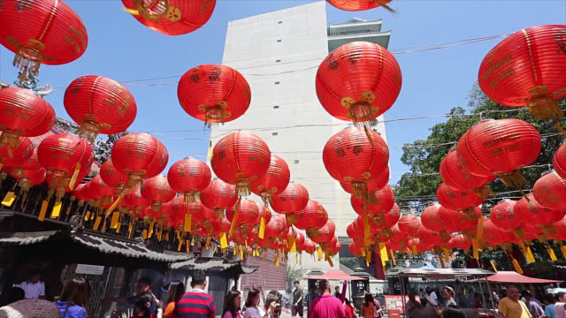 Chinese lantern hang outside temple for decorate