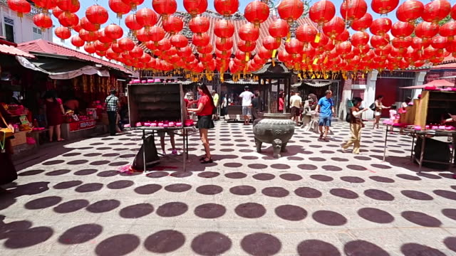 chinese lantern hang outside temple - chinese lantern festival stock videos and b-roll footage