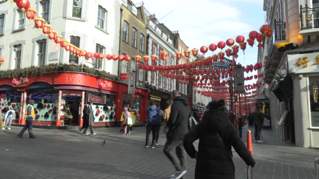 chinese lanterns & gerrards corner chinese restaurant chinese new year in london on february 03, 2019 in london, england. - corner stock videos & royalty-free footage