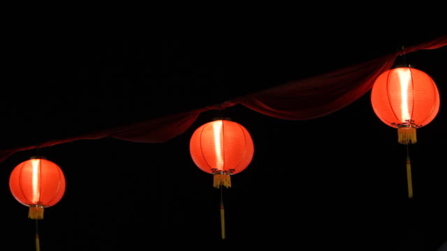 ms chinese lanterns illuminated at night / singapore - small group of objects stock videos & royalty-free footage