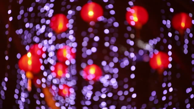 ws chinese lanterns in and out of focus - abblenden stock-videos und b-roll-filmmaterial