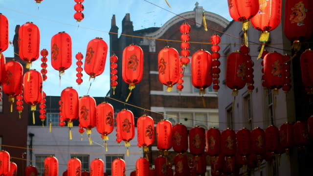 chinese lanterns - chinatown stock videos and b-roll footage