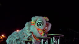 Chinese lion performing