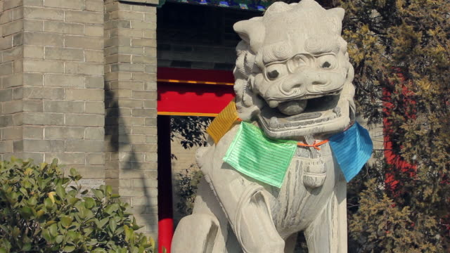 cu chinese lion statue in temple/xian,shaanxi,china - imperial lion stock videos and b-roll footage