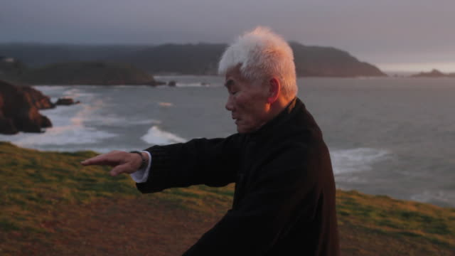 ms pan chinese man performing  tai chi on seaside / pacifica, ca, united states - martial arts stock videos & royalty-free footage
