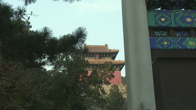 ms zi chinese monastery from behind trees, ming tombs, china - ming tombs stock videos and b-roll footage