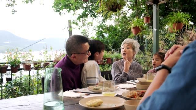chinesische mehrgenerationen-familie isst im freien - großeltern stock-videos und b-roll-filmmaterial