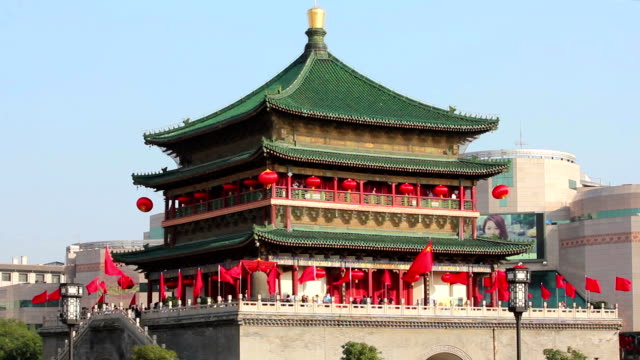 Chinese national flags on bell tower during national day holidays in China.
