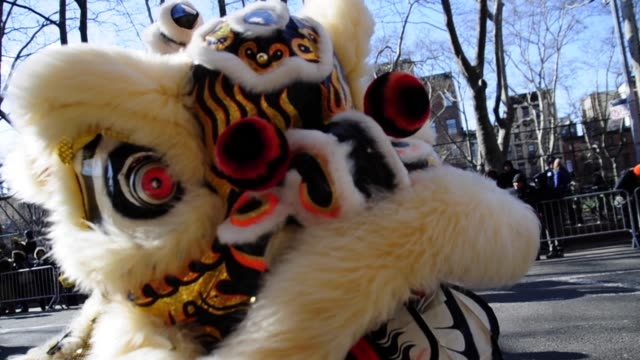 stockvideo's en b-roll-footage met chinese new year 2013 celebrating the year of the snake, chinatown new york city, manhattan, new york chinese new year 2013 new york on february 17,... - 2013
