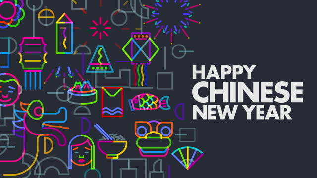 vídeos de stock e filmes b-roll de chinese new year icons animation - infográfico