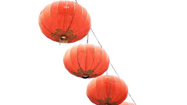chinesisches neujahr laterne einrichtung. - chinesisches laternenfest stock-videos und b-roll-filmmaterial