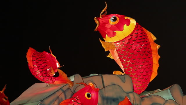 cu chinese new year lantern goldfish blowing bubbles - ランプ点の映像素材/bロール