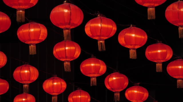 chinese new year lanterns in china town.celebrate chinese new year.south east & east asia: celebrating chinese new year - lantern stock videos & royalty-free footage