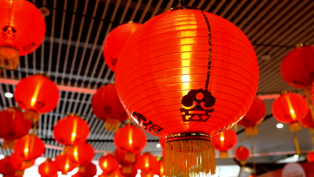 chinese new year laterns hanging - chinese lantern festival stock videos and b-roll footage