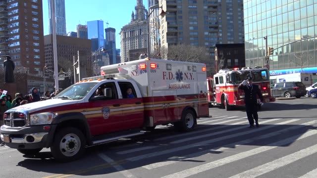 chinese new year parade in chinatown celebrating the year of the monkey / the fire department city of new york parades / lower manhattan new york... - fire department of the city of new york stock videos and b-roll footage