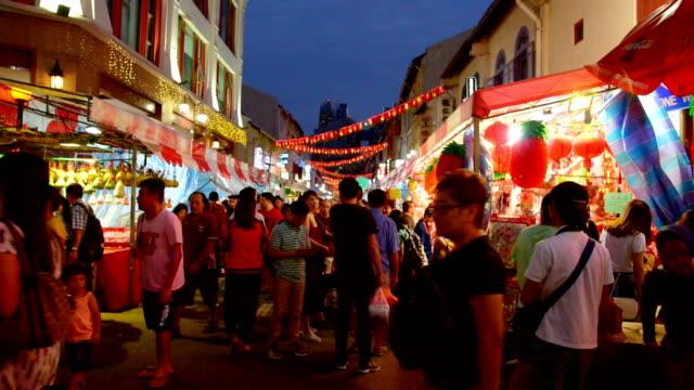 Het Chinese nieuwe jaar 2018 in Singapore China Town en reiziger geniet van traviling