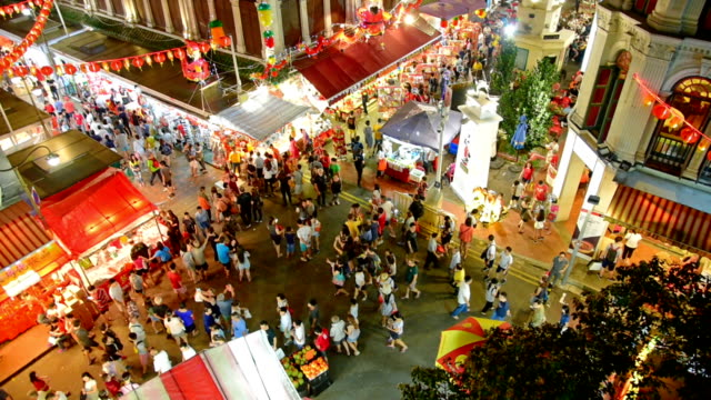 chinese new years in singapore china town and traveller enjoy traviling - tourist stock videos & royalty-free footage