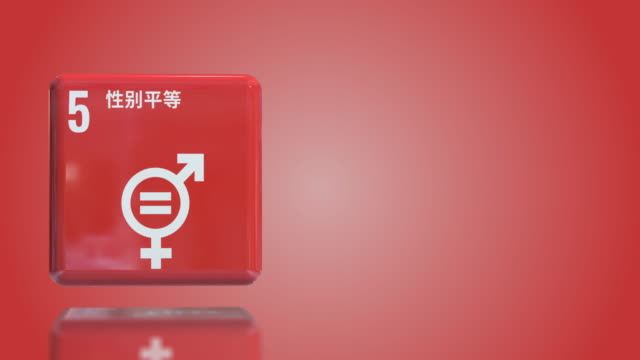chinese number 5 gender equality 3d box sustainability goals 2030 with copy space - gender equality stock videos & royalty-free footage