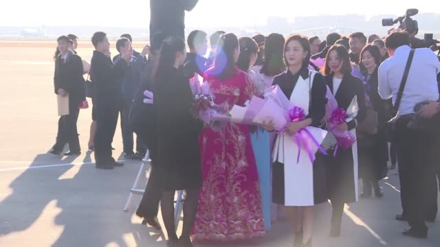 A Chinese official delegation of artists and entertainment industry stars arrive at Pyongyang for a cultural exchange visit