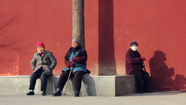 ms chinese old women bask at afternoon/xian,shaanxi,china - fianco a fianco video stock e b–roll