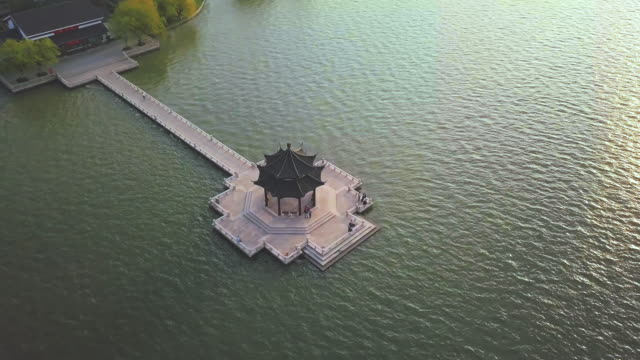aerial ws chinese pavilion and jinji lake, ligongdi, suzhou, jiangsu province, china - pavilion stock videos and b-roll footage