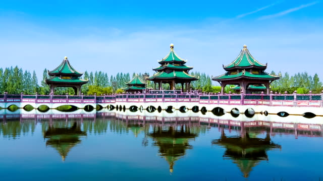 Chinese pavilion with a bridge over the water.