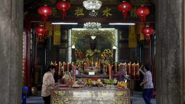chinese pray in a chinese temple - religious equipment stock videos & royalty-free footage