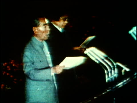 chinese premier chou en lai and u.s. president richard nixon deliver speeches before nixon's beijing departure. - 1972 stock videos & royalty-free footage