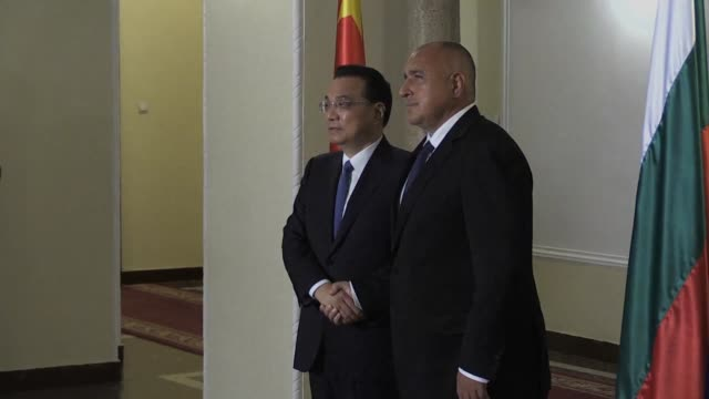 chinese premier li keqiang meets bulgarian prime minister boyko borisov in sofia ahead at a summit of central and eastern european countries - prime minister video stock e b–roll