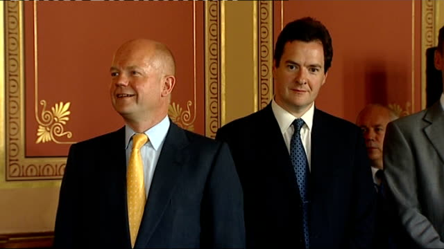 stockvideo's en b-roll-footage met anglochinese trade agreement signing ceremony england london throughout** david cameron mp and wen jiabao enter room and stand together for photocall... - william hague