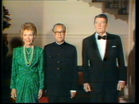 chinese premier zhao ziyang attends white house banquet; usa: washington dc: the white house: int