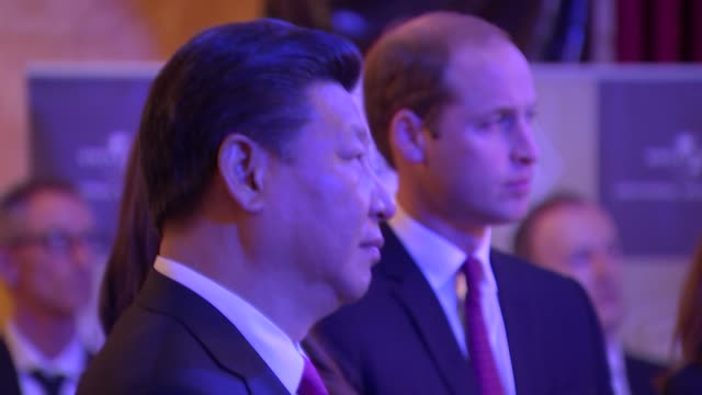 chinese president and duke and duchess of cambridge at lancaster house jinping and wife and duke and duchess of cambridge standing chatting with men... - doctor who stock videos and b-roll footage
